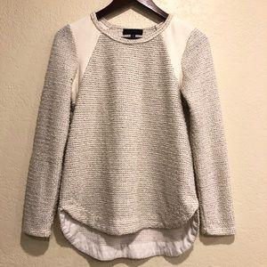 Anthro- Sanctuary Cream glitter knit hi lo sweater